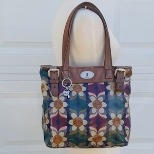 Fossil Multi color Coated Canvas Leather Tote Bag